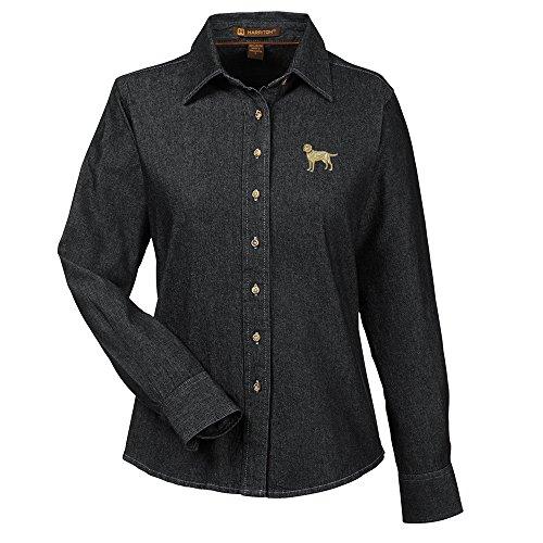 Labrador Yellow Embroidered Ladies 100% Cotton Denim Shirt - Labrador Denim Shirt