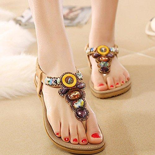 Minetom Mujer Sandalias Con Cuentas Embellecimiento Bohemio Estilo Zapatos Playa Sandalias Verano Khaki