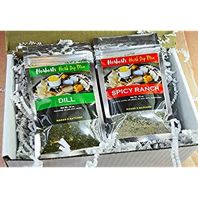 Herb's Herbs - 2 Pack-Herb's Herb Dip-Spicy Ranch & Dill: Grocery & Gourmet Food