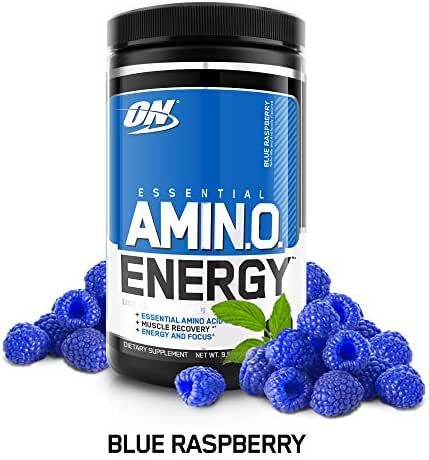 OPTIMUM NUTRITION ESSENTIAL AMINO ENERGY, Blue Raspberry, Keto Friendly Preworkout and Essential Amino Acids with Green Tea and Green Coffee Extract, 30 Servings