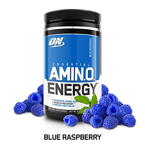 (OPTIMUM NUTRITION ESSENTIAL AMINO ENERGY, Blue Raspberry, Keto Friendly Preworkout and Essential Amino Acids with Green Tea and Green Coffee Extract, 30 Servings)