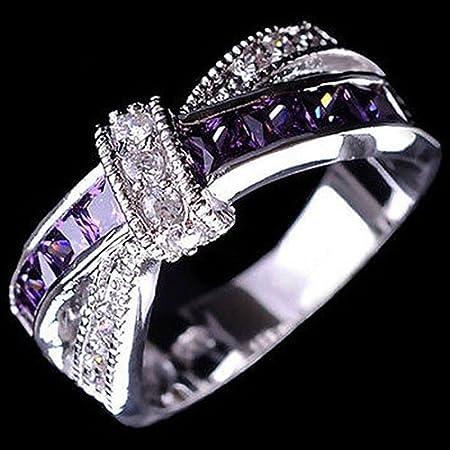 Momangel pour femme Plaqué argent Violet Oxyde de zircon Bagues de mariage Bijoux Cadeaux 6* violet
