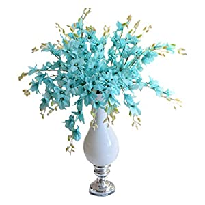 simulation Phalaenopsis Orchid - TOOGOO(R)5pcs Artificial Phalaenopsis Orchid Flowers Silk Flower Wedding Decoration For Home Dining Table Artificial Flower (sky blue) 45