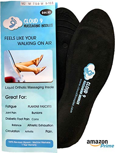 Liquid Insoles - Cloud9 Dynamic Liquid Massaging Orthotic Insoles | Best Shoe Inserts | Arch Support & Foot Pain Relief | Premium Glycerin Filled Insert | Absorbs Shock (L2 - Men 9.5-10.5 | Women Size 9.5-11)