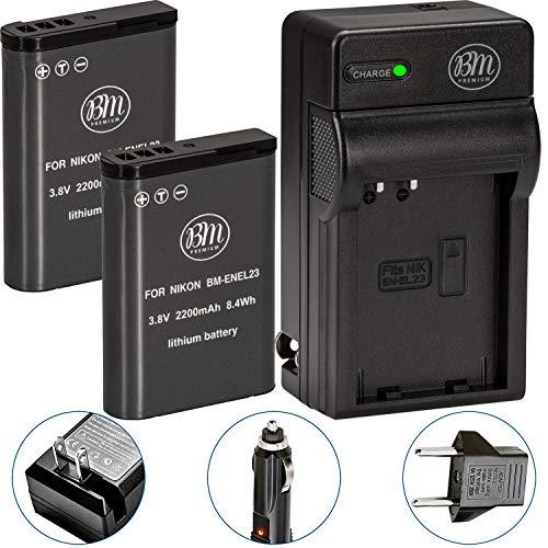 BM Premium 2 Pack of EN-EL23 Batteries and Battery Charger for Nikon Coolpix B700, P900, P600, P610, S810c Digital Camera 900 Replacement Camera Battery