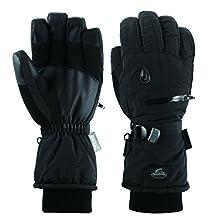 Men Waterproof Thinsulate Ski Snowboard Gloves Winter Warm Gloves Black (L)