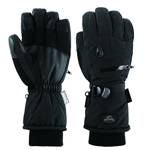 Men Waterproof Thinsulate Ski Snowboard Gloves Winter Warm Gloves Black (M) Thread Snow