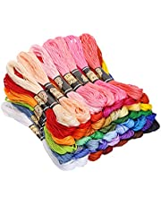 Mini Skater 50 Skeins Multi Color Embroidery Floss Soft Cotton Cross Stitch Threads Sewing Supplies for Art Crafts Projects Gift Bracelet Strings,50 Colors