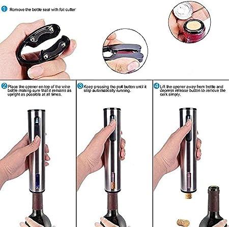 Abridor de vino eléctrico de acero inoxidable recargable profesional sacacorchos eléctrico con cortador de papel de aluminio, cable cargador USB, paquete de 2