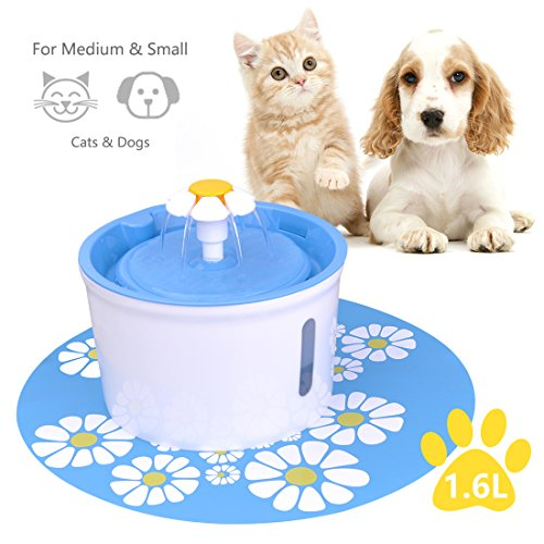 - Iseebiz Pet Water Fountain 1.6L Cat Water Dispenser Pet Automatic Water Dispenser With Mat And 2 Replacement Filter For Dogs, Cats, Birds Medium And Small Animals