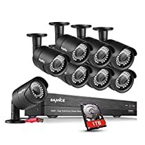 SANNCE 8 Channel HD-TVI 1080P CCTV Security Camera System 1TB Hard Drive (8) 100ft Night Vision Outdoor Cameras ,Easy Remote Access Motion Detection