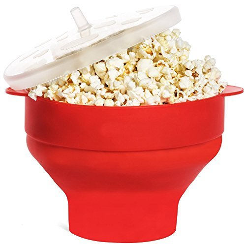 Silicone Microwave Popcorn Popper bucket with Lid, Collapsible Popcorn Maker Bowl Red for Home Party
