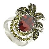 Garnet Olivine Black Gold Pineapple Ring