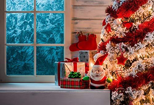 Leowefowa Winter Windowsill Backdrop 5x3ft Vinyl Christmas Decoration Interior Photography Backgroud Snow Pine Forest Colorful Christmas Tree Stocking Santa Claus Doll Gift Box Children Party