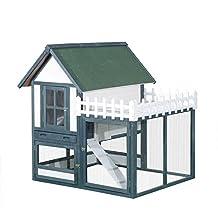"PawHut 51""L x 47""W x 52"" Wooden Rabbit Hutch Cage Pet House Habitat with Run"
