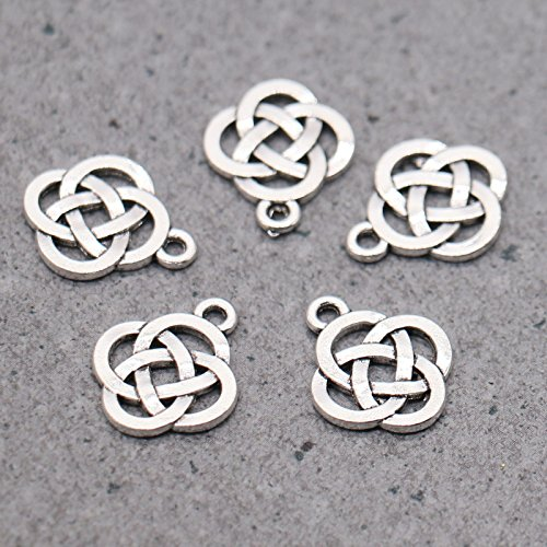 JETEHO 100 Pieces Reversible Celtic Shield Knot Charms Findings Jewelry Pendants Necklaces Making 15 X 18mm