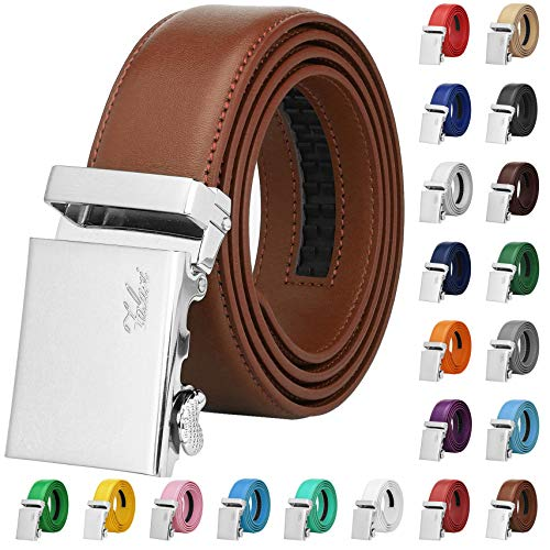 Falari Men Unisex Genuine Leather Ratchet Dress Belt Automatic Sliding Buckle - 20 Variety Colors - Trim to Fit (8170 - Light Brown, M - Fit from waist 28 to 34