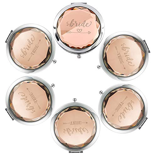 Pack of 6 Compact Pocket Makeup Mirrors - 1 Bride Makeup Mirror 5 Bride Tribe Makeup Mirrors and 6 Gift Bags for Bachelorette Party Bridal Shower Hen Party Bridesmaid Proposal Gifts (champagne)]()