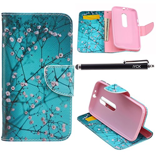 Generations Plum - Motorola Moto G (3rd Generation) Case Wallet, iYCK Premium PU Leather Flip Folio Carrying Magnetic Closure Protective Shell Wallet Case Cover for Moto G3 with Kickstand Stand - Plum Blossom