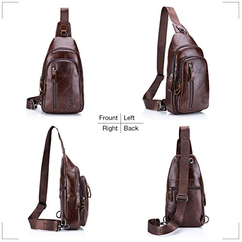 7ae8aafb1 Sling Bag, Charminer Leather Chest Bag Crossbody Shoulder Business Backpack  Outdoor Daypack: Amazon.ca: Sports & Outdoors