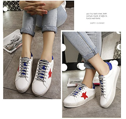 QZUnique Womens Flat Sports Shoes, Casual White Round Toe Shoes, Non-Slip Blue