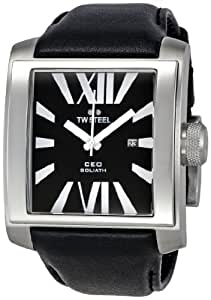 TW Steel CEO Goliath - Reloj analógico de caballero de cuarzo con correa de piel negra