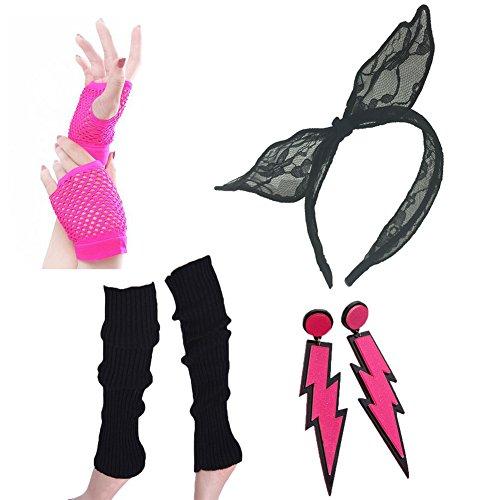 Leg Warmers In The 80s (80s Fancy Outfit Costume Accessories Set-Leg Warmers,Fishnet Gloves,Neon Earrings,Lace Headband(Black))
