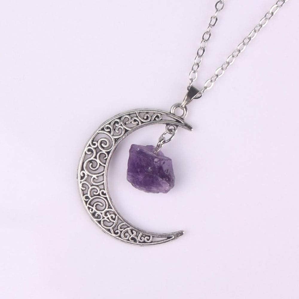 Bellas Crystal, Galaxy retro de la luna de cristal de la Media Luna Púrpura antigua de bronce púrpura de cuarzo rosa, natural piedra del ópalo colgante, collar transparente for la decoración del hogar