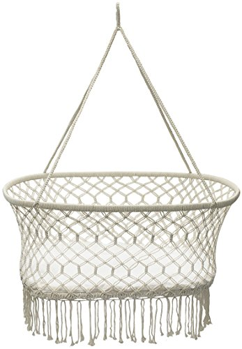 "Sorbus Baby Crib Cradle, Hanging Bassinet and Portable Swing for Baby Nursery, Macramé Rope Fringe Measures 35"" L X 23.25"" W X 14"" H, Weight capacity 22 pounds (Off White)"
