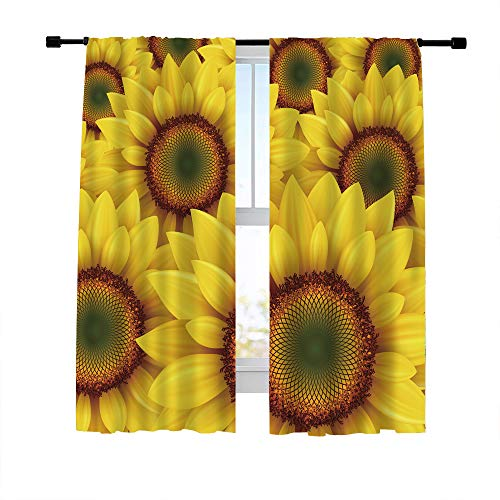 Misscc Decorative Blackout Curtains Window Treatments Draperies for Living Room Bedroom Kitchen, Summer Background with Blooming Sunflower Field, Print Window Curtains 42 x 63 Inch, 2 Panels