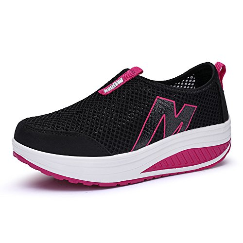 up Rx3306 Platform Shoes Women Toning Sneakers Black Shape Mesh Enllerviid On Slip Walking Fitness E7HqCWSp