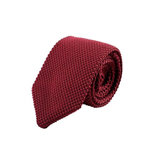 Vintage Polyester Necktie (Freedi Mens Skinny Knit Tie Vintage Smart Casual Polyester Necktie for Groom (Red))