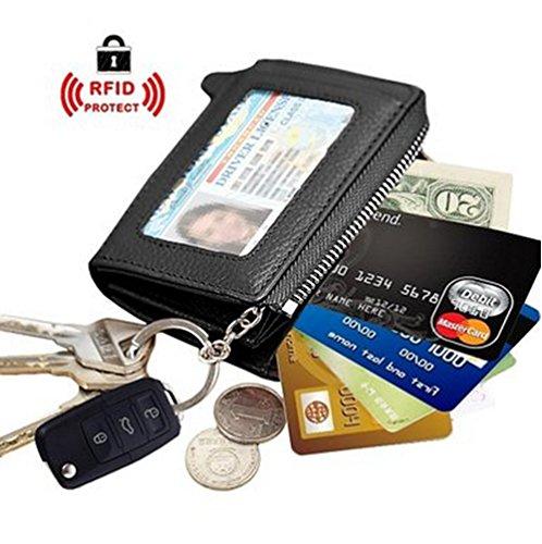 Edmen Zipper Key Wallet Leather Credit Card Case Coins Purse with ID Window for Women Men(Black)