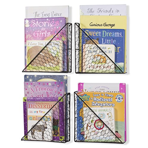 Wall35 Playful Floating Book Shelves for Kids Room - Wall Mounted Magazine Rack - Chicken Wire Metal Black Set of 4
