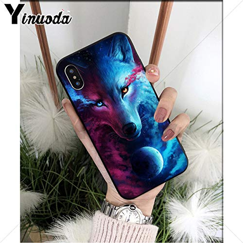 Blue Animation Wolf iPhone 6 Case Space Moon Wolf 6S Cover Forest Wild Animal Wolves iPhone 6/6s Back Case Fantasy Art Painting Stylish HD Printed Shockproof Slim Soft, TPU