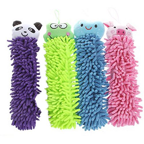 Great Chance 4 Pcs Cartoon Design Kictchen Chenille Fiber Hand Towel Clean Absorbent Cloth Cute Smiling Face Blue + Cute Cartoon Pig Pink + Cute Cartoon Panda Purple + Cute Cartoon Frog Green (Panda Hand Towel)