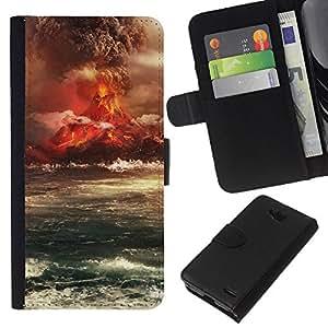 EJOY---La carpeta del tirón la caja de cuero de alta calidad de la PU Caso protector / LG OPTIMUS L90 / --Isla del Volcán Erupción