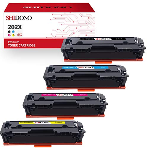 Shidono Compatible Toner Cartridge Replacement for HP 202X 202A Fits with Laserjet Pro MFP M281fdw/M281cdw/M281fdn /M280nw/M254dw/M254dn/M254nw/M281dw Printer,[4-Pack,Black/Cyan/Yellow/Magenta]