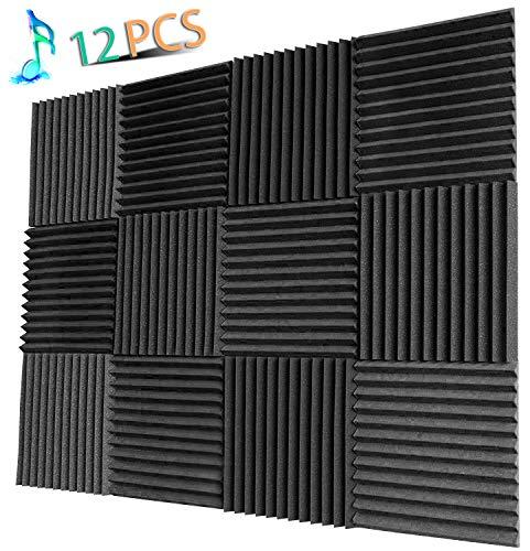 YWSHUF Acoustic Panels Studio Foam Soundproofing Foam Acoustical Treatments Foam 12 pack-12''12''1''(Charcoal-12 Pcs) by YWSHUF