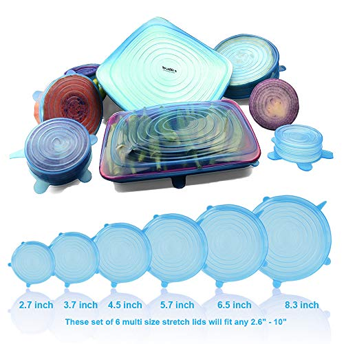 Walfos Silicone Stretch Lids Covers (Multi Size 6 pack) - Reusable, Durable, Expandable Food Seal Wrap For Various Sizes Shapes of Bowl, Cup, Pot, Pan, Jar, Can, Container