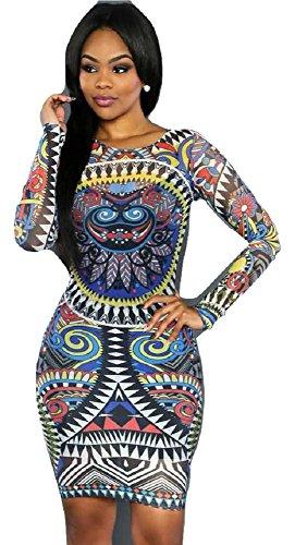 NEW Mesdames multi couleur transparent en maille robe Midi Imprimé Tribal Club robe d'été Casual Party robe taille M UK 10EU 38