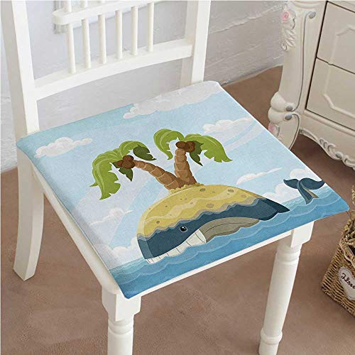 (Mikihome Chair Pads Classic Design Whale with on His Back Palm Trees Clouds Playroom Cotton Canvas Futon 28