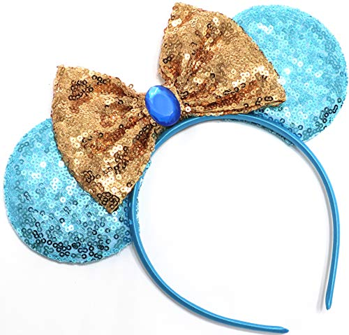 CLGIFT Jasmine Inspired Minnie Mouse Ears, Aladdin Inspired, Princess Jasmine,Rose Gold Mouse Ears, Aladdin Ears -