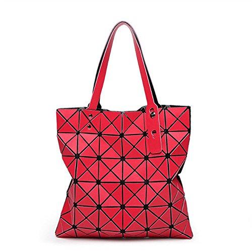 MYLL Bolso De Hombro Plegable De La Señora Geometric Ling Grid De La Moda Casual Del Bolso De Las Mujeres,DarkGray Red