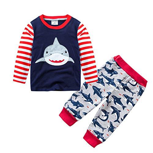 Hellomiko Mignon Bébé Garçons 100% Coton Enfants Chaud Pyjamas Shark Tops + Pantalon Pour 0-7 ANS Enfants Casual Tenues: Amazon.es: Ropa y accesorios