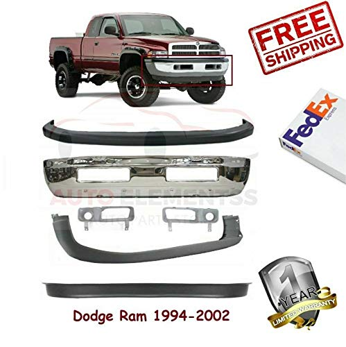 1994-2002 Dodge Ram 1500 Lower & Upper Valance Face Bar Chrome Sight Shield Left Hand Side & Right Hand Side Set of 6 CH1038101 CH1039101 CH1000232 CH1000160 CH1090124 CH1002256 ()