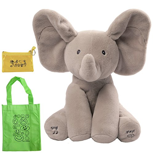 GUND Flappy The Elephant Animated Plush Toy, Coin Purse & Tote Bundle Set (Set Coin Elephant)