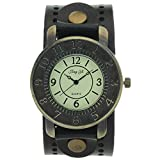 Vintage Retro Bronze Round Case Dial Leather Wide Belt Wristband Cuff Quartz Analog Wrist Watches
