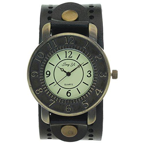 Vintage Retro Bronze Round Case Dial Leather Wide Belt Wristband Cuff Quartz Analog Wrist Watches Vintage Retro Watches