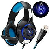 PC Gaming Headset with 7.1 Surround Sound - Beexcellent Wired Over Ear USB Headsets with Mic One Key Mute Volume Control Blue Led Light for Computer Laptop Ps4 ( GM-110 BlackBlue )